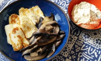 Mushroom Houmous Halloumi