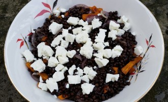 Roast carrot, feta and puy lentil salad