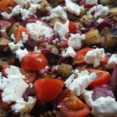 Warm aubergine and lentil salad