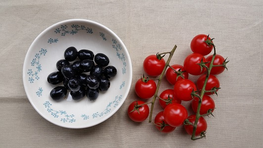 Black olives and cherry tomatoes
