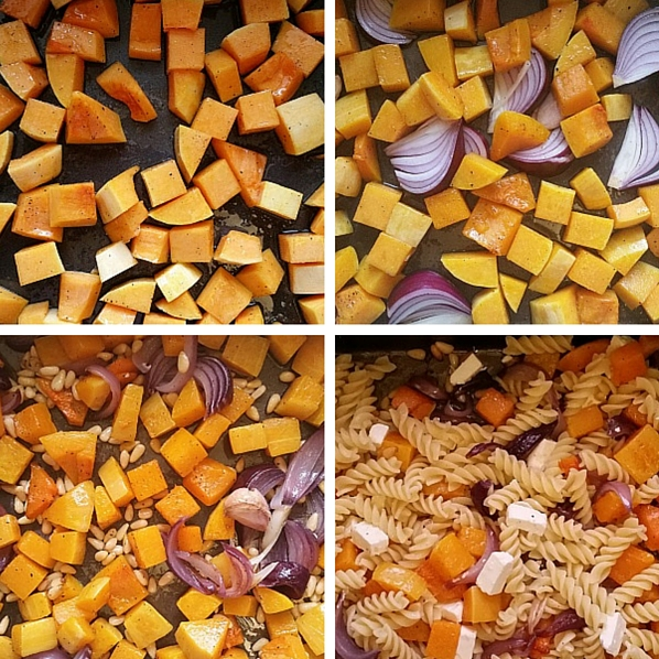 Making feta and roasted butternut squash pasta