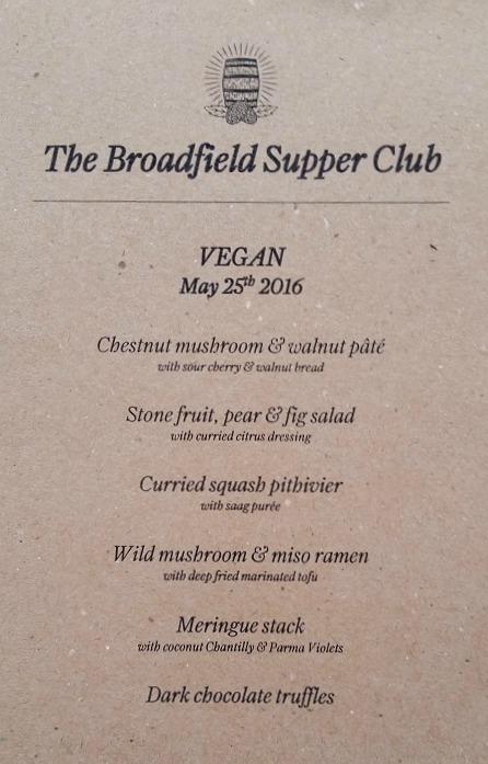 Vegan Supper Club Menu, The Broadfield Sheffield